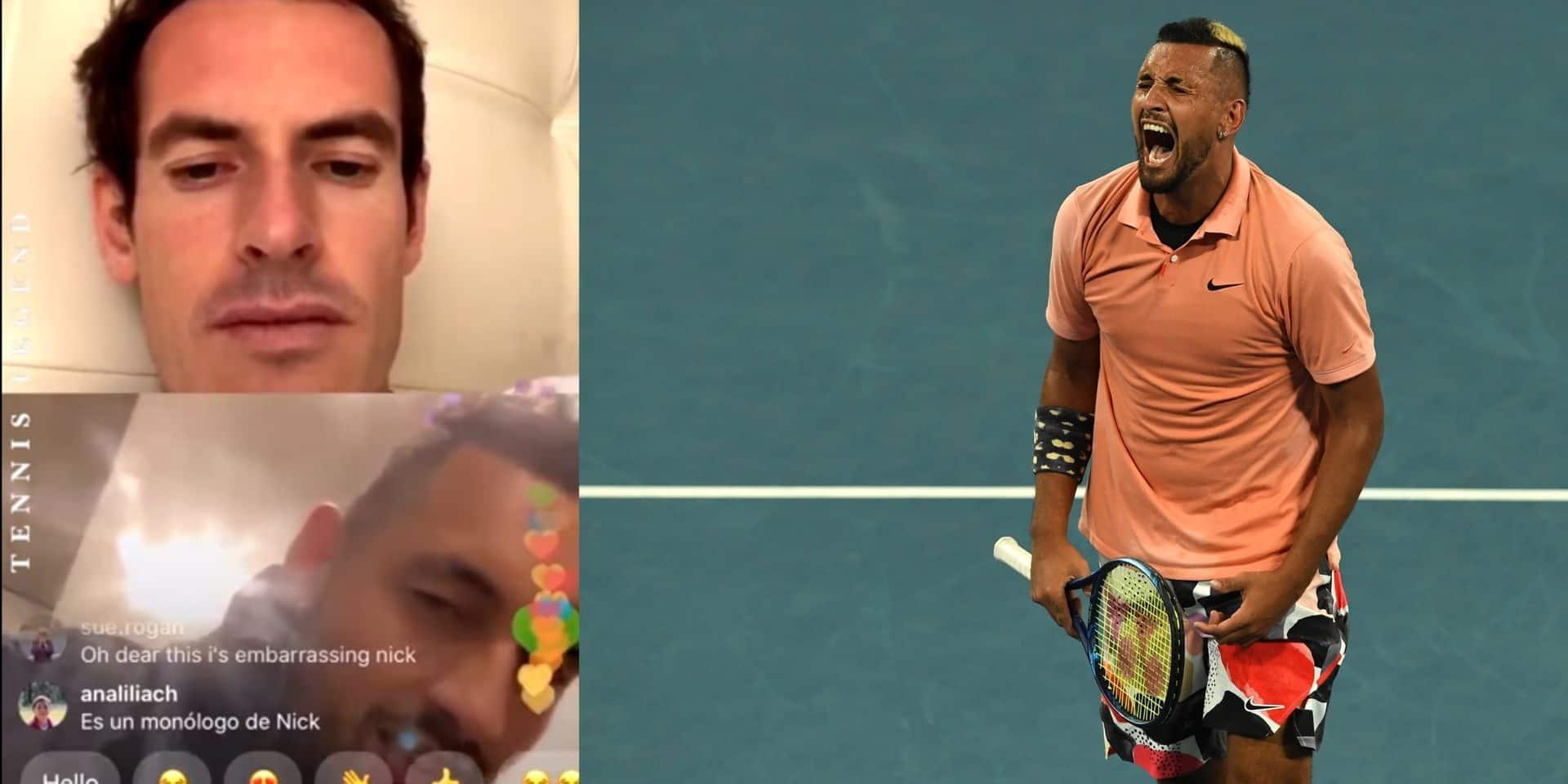 "Ivre, Nick Kyrgios balance en Instagram Live avec Andy Murray: ""Tu es meilleur que le Big Three"""