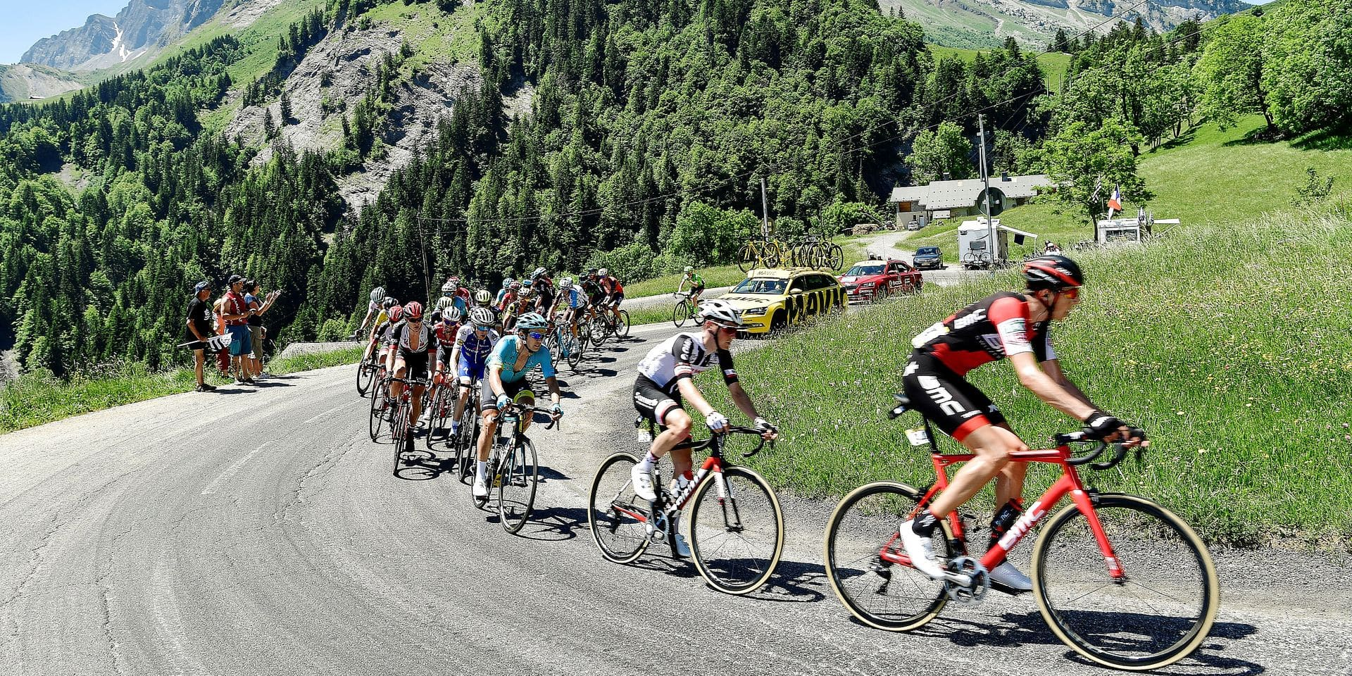The pack rides during the 115 km eighth stage of the 69th edition of the Criterium du Dauphine cycling race on June 11, 2017 between Albertville and the Plateau de Solaison in Brison, French Alps. / AFP PHOTO / PHILIPPE LOPEZ