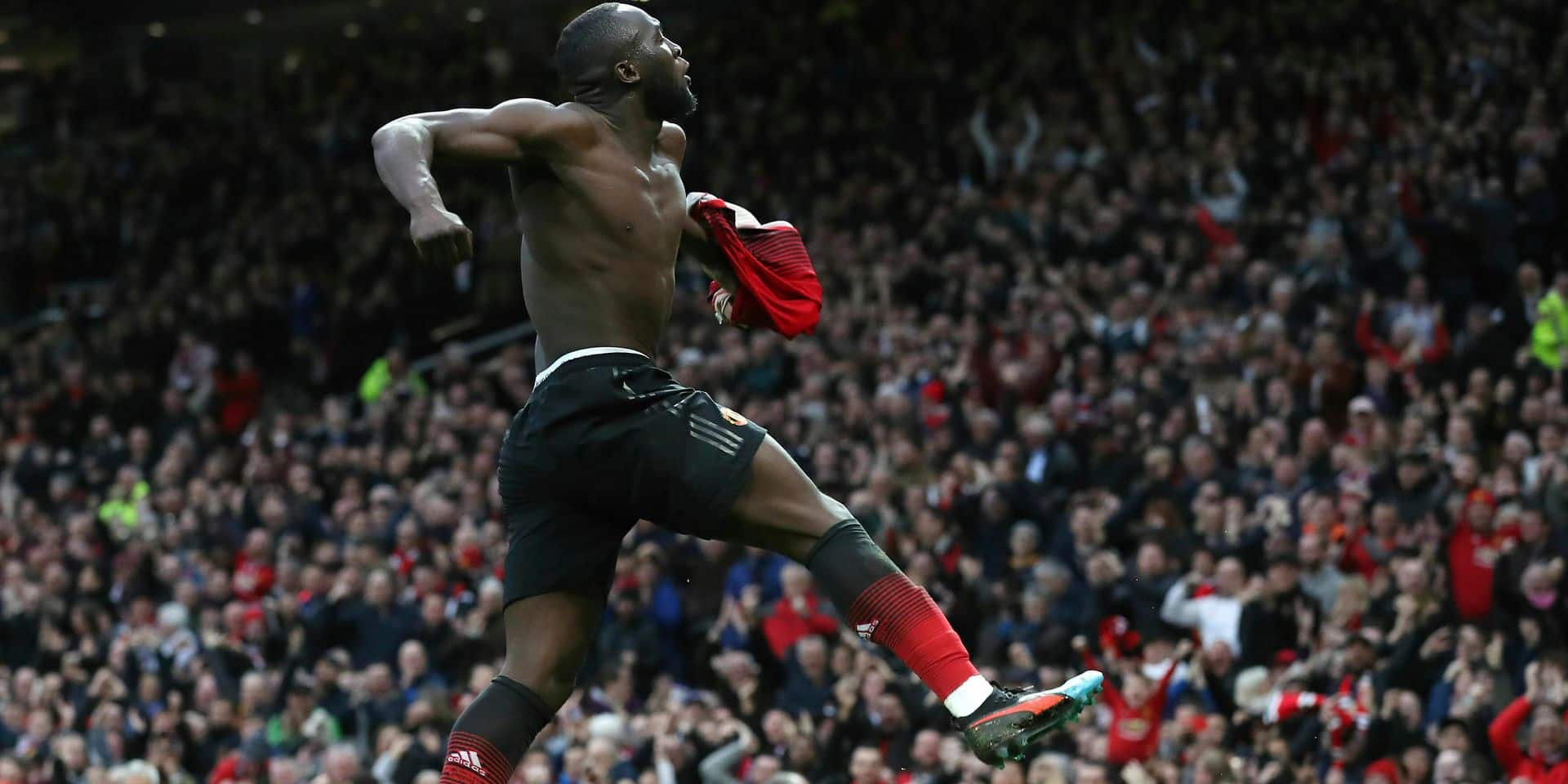 Manchester United's Romelu Lukaku celebrates scoring his side's third goal of the game, during the English Premier League soccer match between Manchester United and Southampton at Old Trafford, in Manchester, England, Saturday, March 2, 2019. (Martin Rickett/PA via AP)