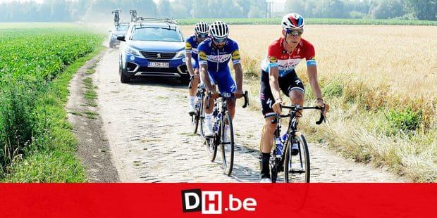 Cambrai - Roubaix, FRANCE, on July 4, 2018. Quick Step renners verkennen de kasseirit van de Ronde van Frankrijk. Bob Jungels Fernando Gaviria Maximiliano Richeze Julian Alaphilippe PICTURE NOT INCLUDED IN THE CONTRACT. ! Only BELGIUM !