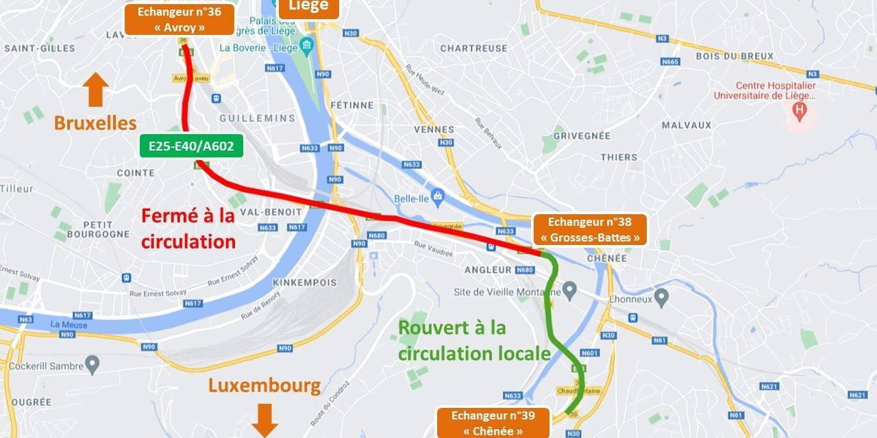 Liège : le tronçon compris entre Chênée et Angleur rouvert