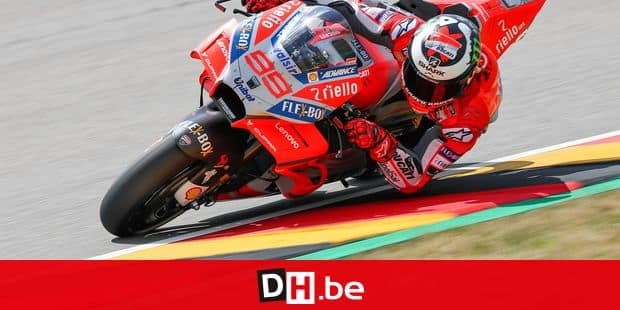 13 July 2018, Hohenstein-Ernstthal, Germany: Motorsport, Grand Prix of Germany, Second Training Session Moto2, Sachsenring: The driver Jorge Lorenzo (Spain) from the Ducati Team in action. Photo: Jan Woitas/dpa-Zentralbild/dpa Reporters / DPA