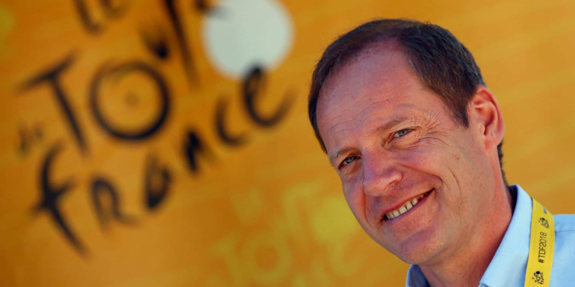 Tour de France director Christian Prudhomme poses before the start of the twelfth stage of the Tour de France cycling race over 175.5 kilometers (109 miles) with start in Bourg-Saint-Maurice Les Arcs and Alpe d'Huez, France, Thursday, July 19, 2018. (AP Photo/Peter Dejong)