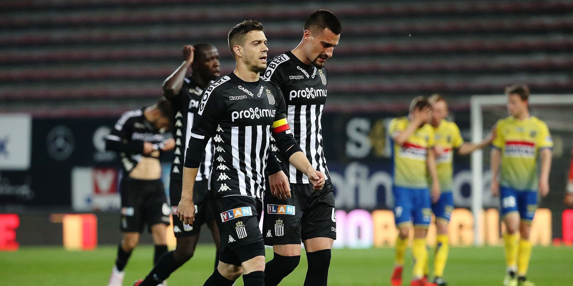 Charleroi's Francisco Javier Martos and Charleroi's Gjoko Zajkov pictured during a soccer game between Sporting Charleroi and KVC Westerlo, Sunday 14 April 2019 in Charleroi, on day 4 (out of 10) of the Play-off 2A of the 'Jupiler Pro League' Belgian soccer championship. BELGA PHOTO VIRGINIE LEFOUR