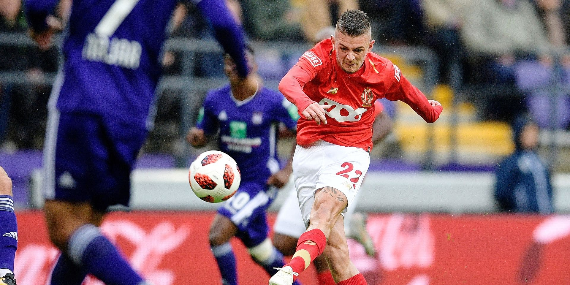 Standard's Maxime Lestienne pictured in action during the soccer match between RSC Anderlecht and Standard de Liege, Sunday 23 September 2018 in Brussels, on the eighth day of the 'Jupiler Pro League' Belgian soccer championship season 2018-2019. BELGA PHOTO YORICK JANSENS
