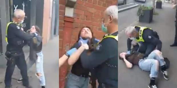 Une jeune femme étranglée en pleine rue par un policier parce qu'elle ne  porte pas de masque (VIDEO) - DH Les Sports+