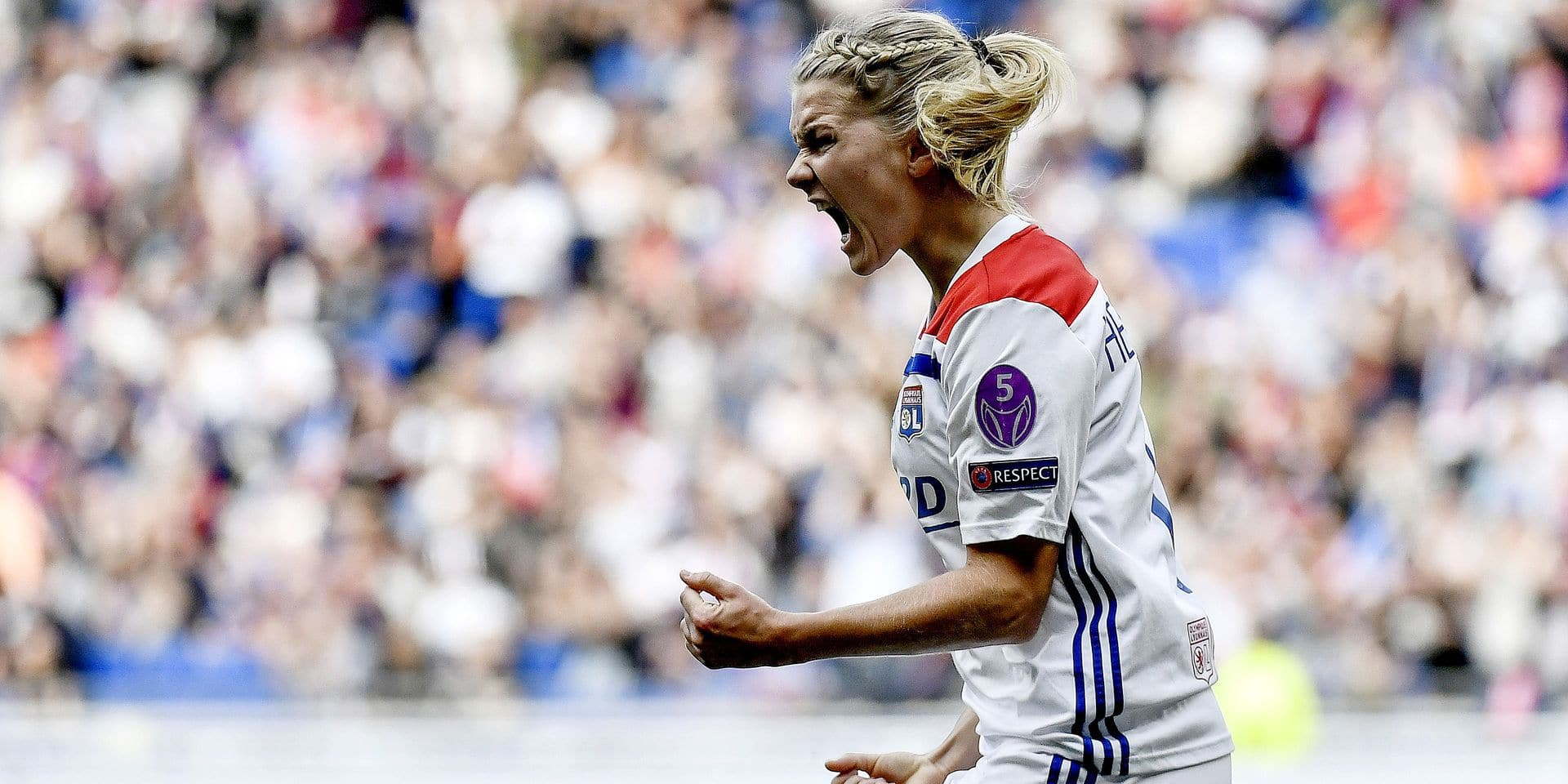 Lyon's Norwegian forward Ada Hegerberg celebrates after her teammate French forward Delphine Cascarino scored a goal during the Women UEFA Champions League semi-final football match Lyon vs Chelsea, on April 21, 2019 at the Parc Olympique Lyonnais stadium in Decines-Charpieu, central-eastern France. (Photo by JEFF PACHOUD / AFP)