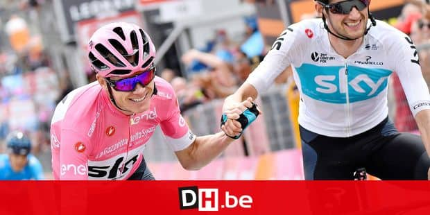 British Chris Froome of Team Sky and Dutch Wout Poels of Team Sky pictured after stage 20 of the 101st edition of the Giro D'Italia cycling tour, 214km from Susa to Cervinia, Italy, Saturday 26 May 2018. BELGA PHOTO YUZURU SUNADA FRANCE OUT