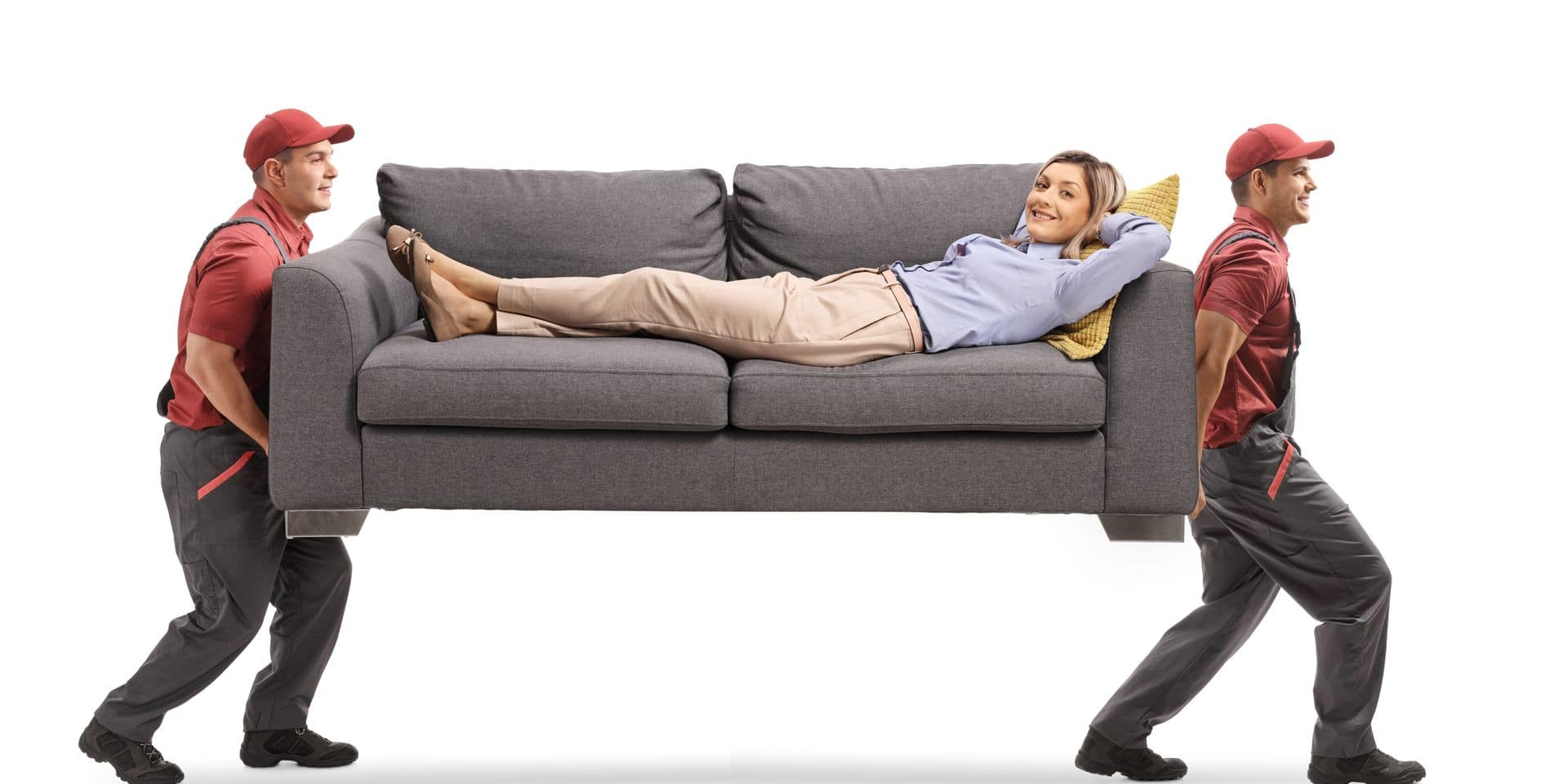 Movers,Carrying,A,Sofa,With,A,Young,Woman,Lying,Isolated