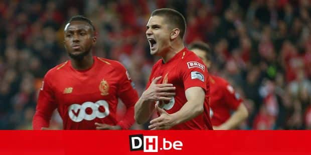 Standard's Razvan Marin celebrates after scoring during a soccer match between Standard de Liege and Club Brugge, Thursday 16 May 2019 in Liege, on day 9 (out of 10) of the Play-off 1 of the 'Jupiler Pro League' Belgian soccer championship. BELGA PHOTO BRUNO FAHY