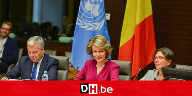 Queen Mathilde of Belgium pictured during a conference called ' L'ONU parlons-en ! - Over de UNO spreken: dat doen we samen, to alert more than 120 students of secondary schools, both Flemish and French-speaking, on the role and priorities of United Nations and the implication of Belgium in the UN, in Brussels, at the Egmont palace, 20 October 2017, Belgium F.Andrieu/Agencepeps/Reporters Reporters / Andrieu