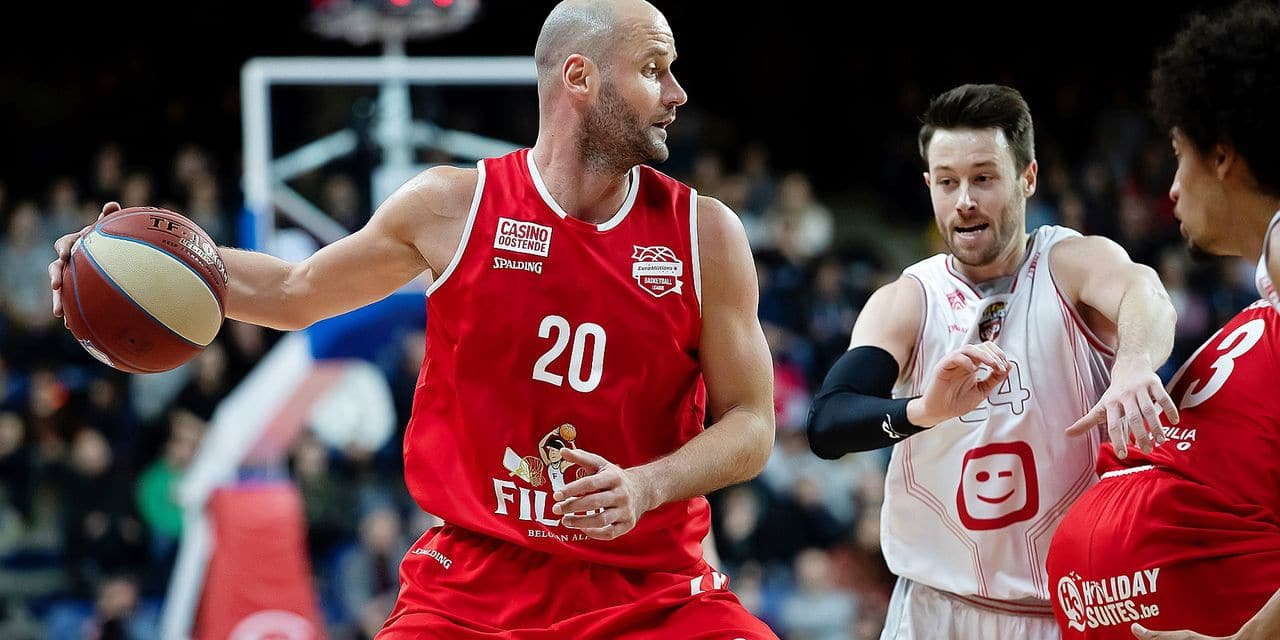 Oostende's Dusan Djordjevic pictured in action during the basketball match between Antwerp Giants and Filou Oostende, Saturday 12 January 2019 in Antwerp, on day 13 of the 'EuroMillions League' Belgian first division basket competition. BELGA PHOTO KRISTOF VAN ACCOM