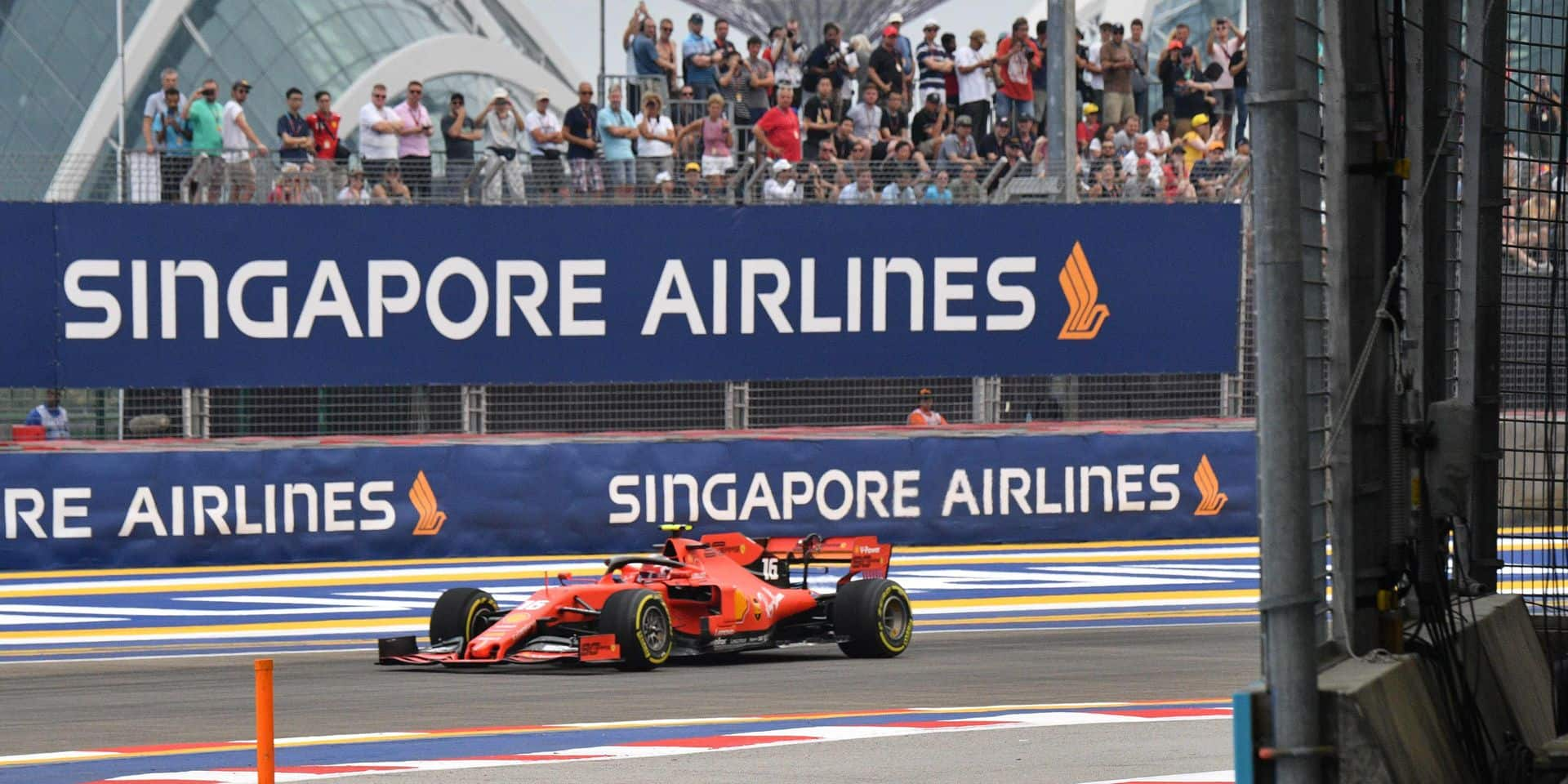Ferrari's Monegasque driver Charles Leclerc takes part in the first practice session for the Formula One Singapore Grand Prix at the Marina Bay Street Circuit in Singapore on September 20, 2019. (Photo by Mladen ANTONOV / AFP)