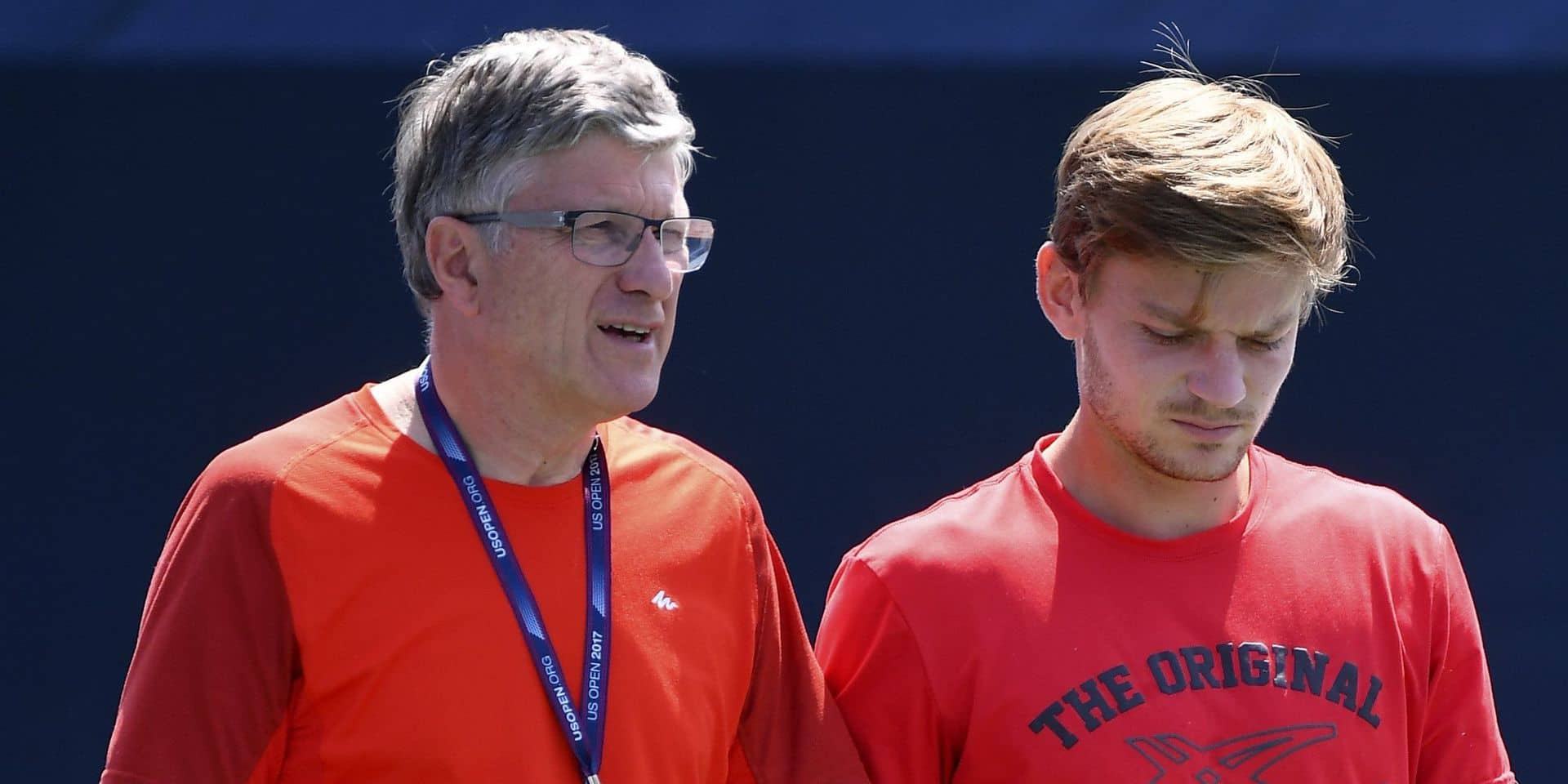 NEW YORK, UNITED STATES OF AMERICA - AUGUST 24 : Maurice Joris physio trainer and coach Van Cleemput Thierry with David Goffin of Belgium during a training session before the 2017 US Open on August 24, 2017 in the Flushing neighborhood of the Queens borough of New York City, United States Of America, 24/08/2017 ( Photo by Vincent Kalut / Photonews