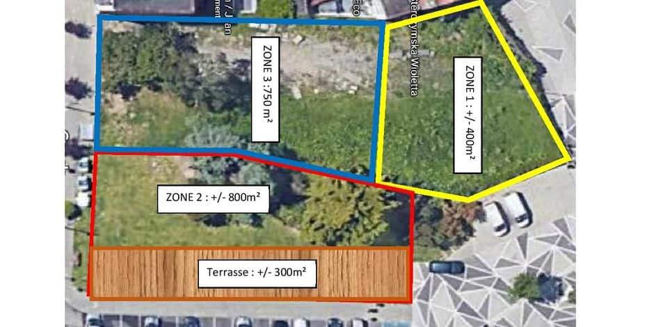 Partage du terrain en jachère en trois zones. La première devrait être ouverte au public dans quelques semaines.
