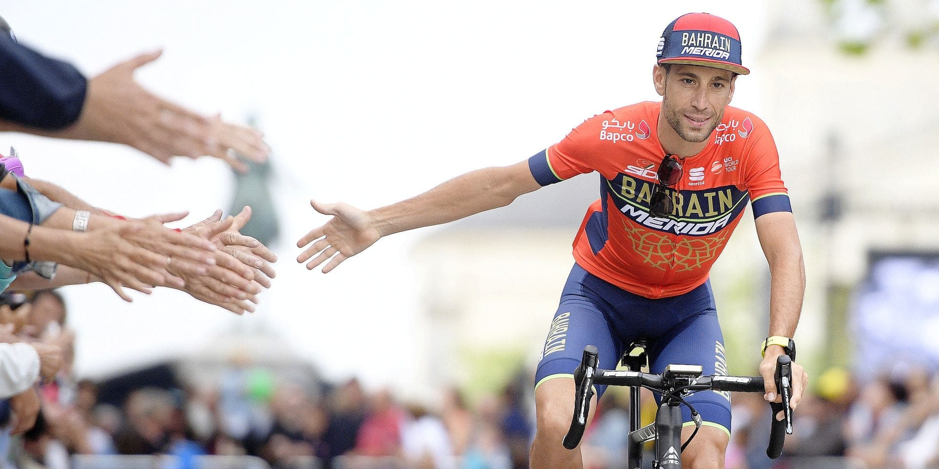 Italian Vincenzo Nibali of Bahrain-Merida pictured during the team presentation of the 105th edition of the Tour de France cycling race, in La-Roche-sur-Yon, France, Thursday 05 July 2018. This year's Tour de France takes place from July 7th to July 29th. BELGA PHOTO DAVID STOCKMAN