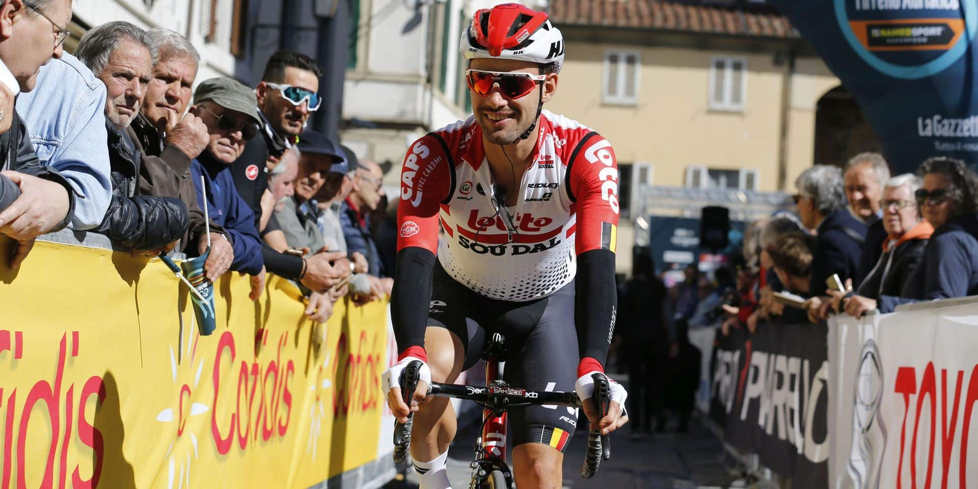 Belgian Victor Campenaerts of Lotto Soudal pictured at stage 2 of the Tirreno-Adriatico cycling race, from Camaiore to Pomarance (195 km), Italy, Thursday 14 March 2019. BELGA PHOTO YUZURU SUNADA - FRANCE OUT