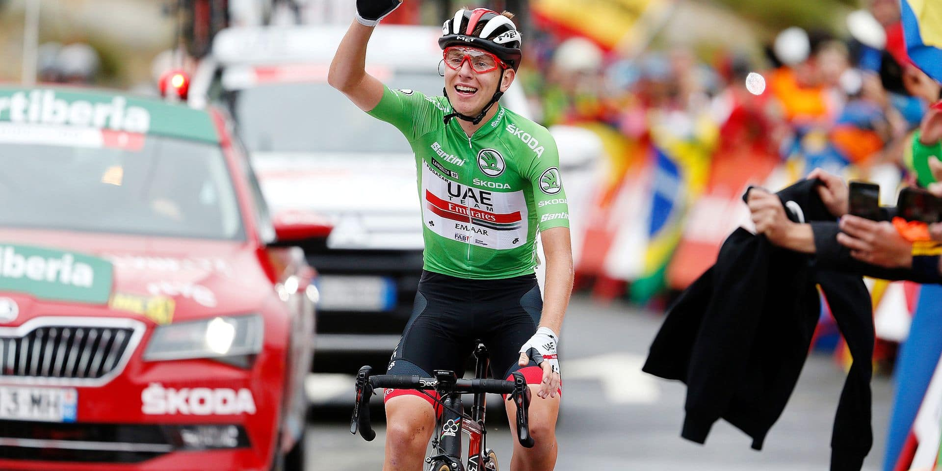 SlovenianTadej Pogacar of UAE Team Emirates celebrates after winning stage 20 of the 2019 edition of the 'Vuelta a Espana', Tour of Spain cycling race, from Arenas de San Pedro to Plataforma de Gredos (190,4 km), Saturday 14 September 2019. BELGA PHOTO YUZURU SUNADA - FRANCE OUT