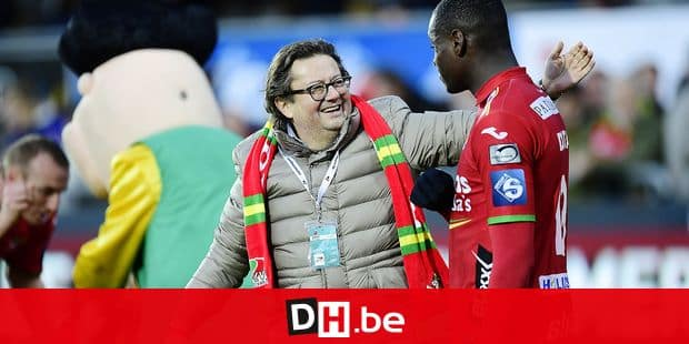 OOSTENDE, BELGIUM - NOVEMBER 27 : Marc Coucke President of KV Oostende celebrates the victory with Landry Nany Dimata forward of KV Oostende after the Jupiler Pro League match between KV Oostende and KRC Genk at the Versluys Arena on November 27, 2016 in Oostende, Belgium, 27/11/2016 ( Photo by Nico Vereecken / Photonews