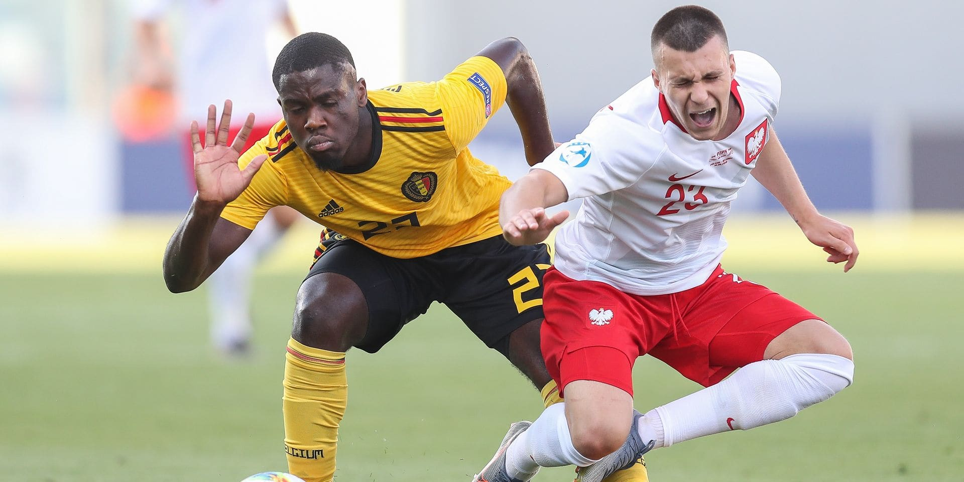 Belgium's Orel Mangala and Poland's Konrad Michalak fight for the ball during a game between the U21 youth team of the Belgian national soccer team Red Devils and Poland, Sunday 16 June 2019, match 1/3 in group A at the 2019 European championships under 21 in Reggio, Italy. BELGA PHOTO BRUNO FAHY