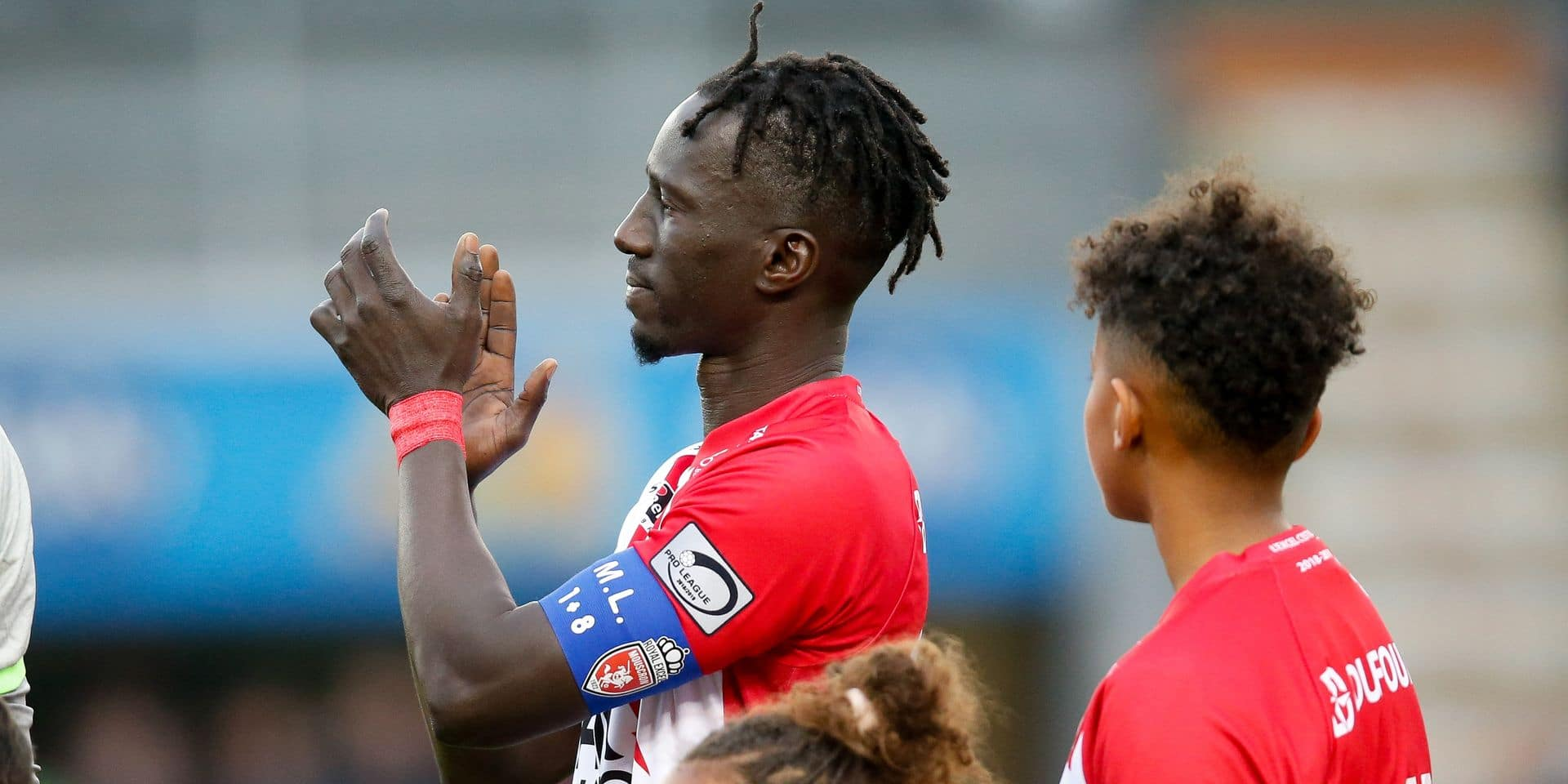 Mouscron's Mbaye Leye pictured at the start of a soccer game between Royal Excel Mouscron and Waasland-Beveren, Friday 17 May 2019 in Mouscron, on the tenth and last day of the Play-off 2B of the 'Jupiler Pro League' Belgian soccer championship. BELGA PHOTO BRUNO FAHY