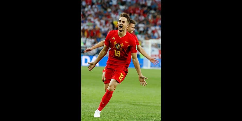 Belgium's Adnan Januzaj celebrates after scoring the opening goal during the group G match between England and Belgium at the 2018 soccer World Cup in the Kaliningrad Stadium in Kaliningrad, Russia, Thursday, June 28, 2018. (AP Photo/Alastair Grant)