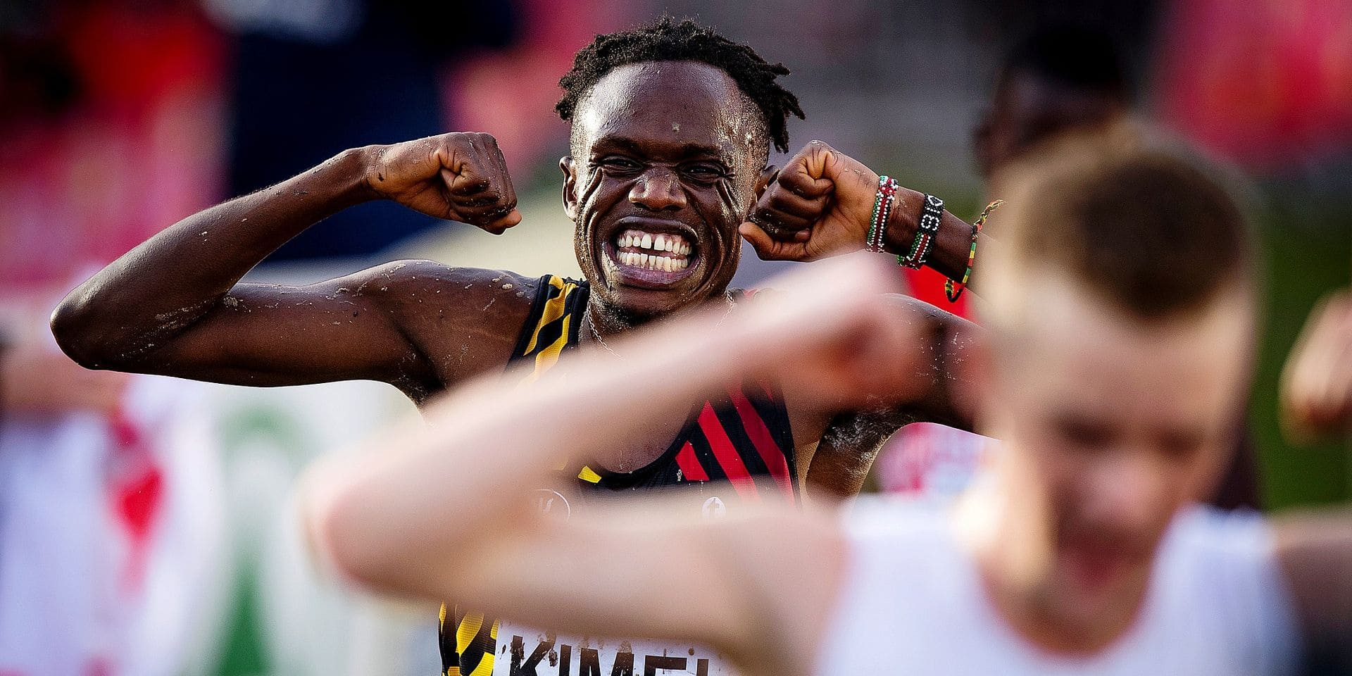 Belgian Isaac Kimeli celebrates as he crosses the finish line at the second place the senior men race at the European Cross Country Championships, Sunday 09 December 2018, in Tilburg, The Netherlands. BELGA PHOTO JASPER JACOBS