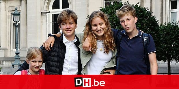 ATTENTION EDITORS - HAND OUT PICTURES - EDITORIAL USE ONLY - MANDATORY CREDIT MANDATORY CREDIT KONINKLIJK PALEIS / PALAIS ROYAL / KONIGLICHER PALAST / ROYAL PALACE Hand out pictures released on Monday 02 September 2019, by the Belgian Royal Palace shows Princess Eleonore, Prince Gabriel, Crown Princess Elisabeth and Prince Emmanuel posing for a picture on the first day of the new school year. HAND OUT BELGIAN ROYAL PALACE