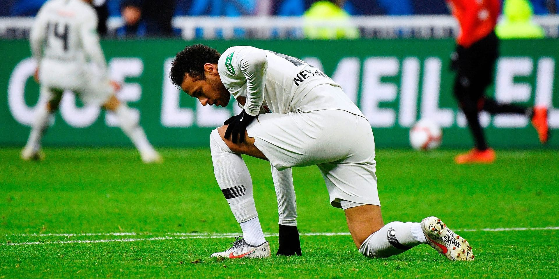 Paris Saint-Germain's Brazilian forward Neymar reacts during the French Cup final football match between Rennes (SRFC) and Paris Saint-Germain (PSG), on April 27, 2019 at the Stade de France in Saint-Denis, outside Paris. (Photo by Damien MEYER / AFP)
