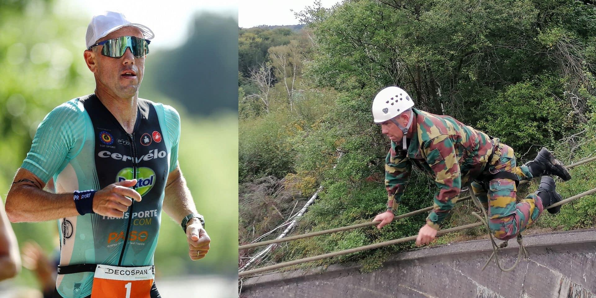 """L'ancien triathlète Frederik Van Lierde poursuit sa reconversion à l'armée: """"J'en ai vraiment bavé sur ce barrage d'Eupen"""""""