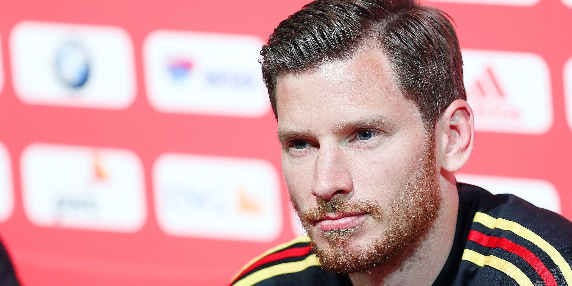 Belgium's Jan Vertonghen pictured during a press conference of Belgian national soccer team Red Devils, Wednesday 20 March 2019 in Tubize. The team is preparing two European Cup 2020 qualification games against Russia tomorrow in Belgium and in Cyprus against Cyprus. BELGA PHOTO BRUNO FAHY