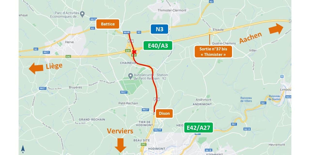 Chantier sur l'autoroute E42/A27: début mardi de la 2e phase des travaux, vers Battice