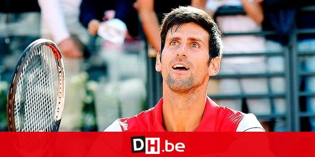 Novak Djokovic, of Serbia, celebrates after defeating Alexandr Dolgopolov, of Ukraine, at the end of their first round match at the Italian Open tennis tournament in Rome, Monday, May 14, 2018. (Ettore Ferrari/ANSA via AP)