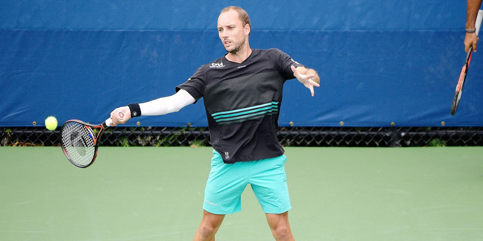 Belgian Steve Darcis pictured in action during a training practise ahead of the US Open Grand Slam tennis tournament, at Flushing Meadow, in New York City, USA, Friday 23 August 2019. BELGA PHOTO YORICK JANSENS