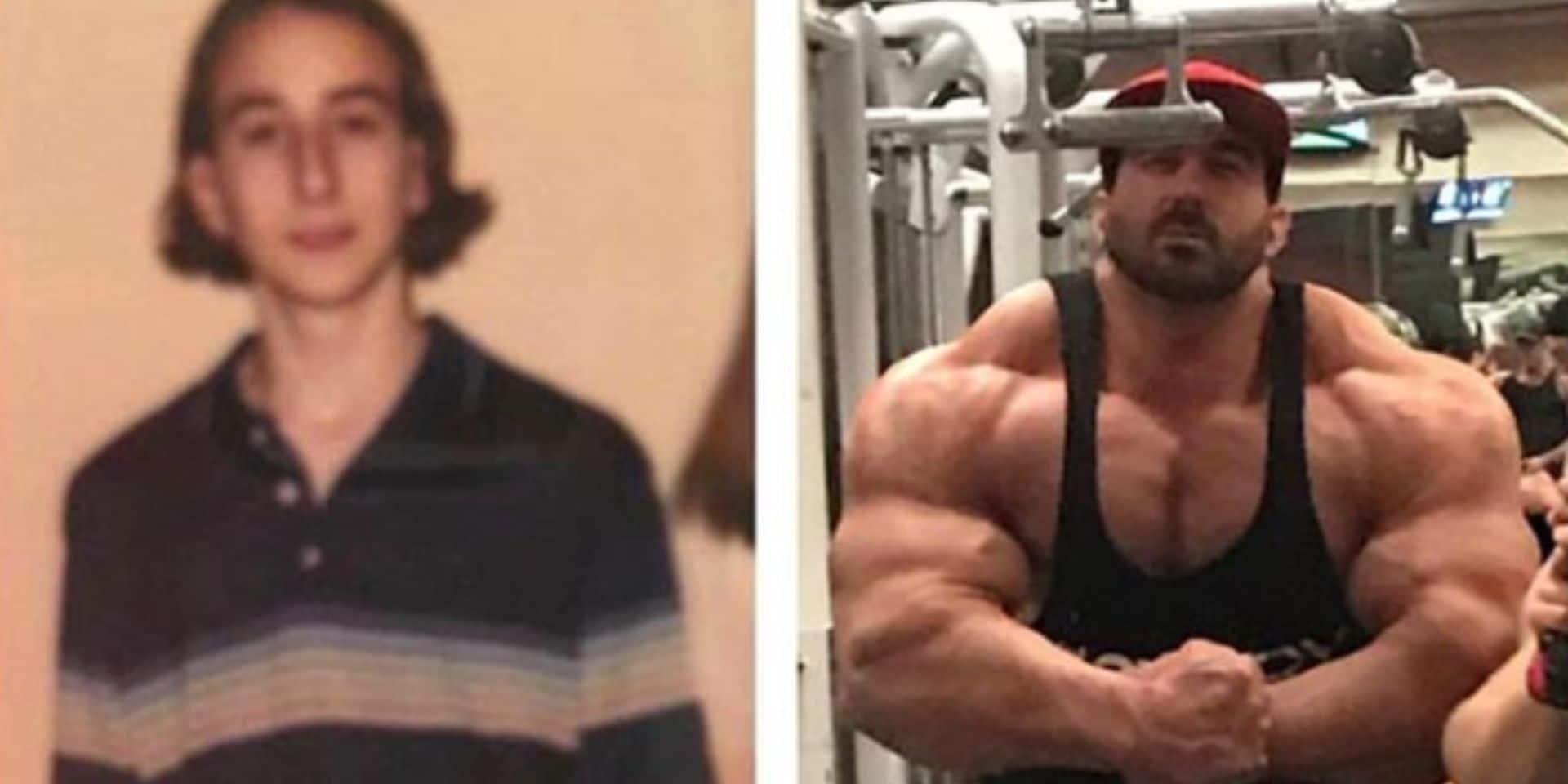 """Incroyable transformation: il passe d'un """"cure-dents"""" de 68 kilos à un bodybuilder de 159 kilos de muscles"""