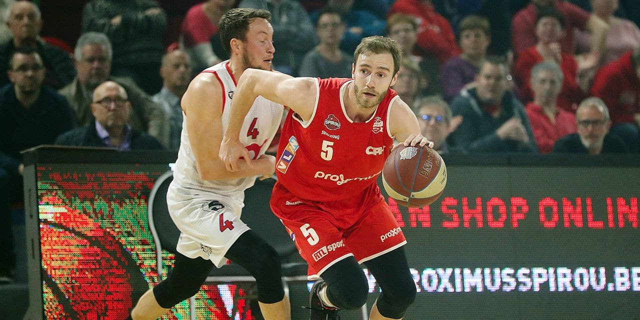 Liege's Terry Deroover and Charleroi's Alexandre Libert fight for the ball during the basketball match between Spirou Charleroi and Liege Basket, Monday 06 May 2019 in Charleroi, on day 32 of the 'EuroMillions League' Belgian first division basket competition. BELGA PHOTO VIRGINIE LEFOUR