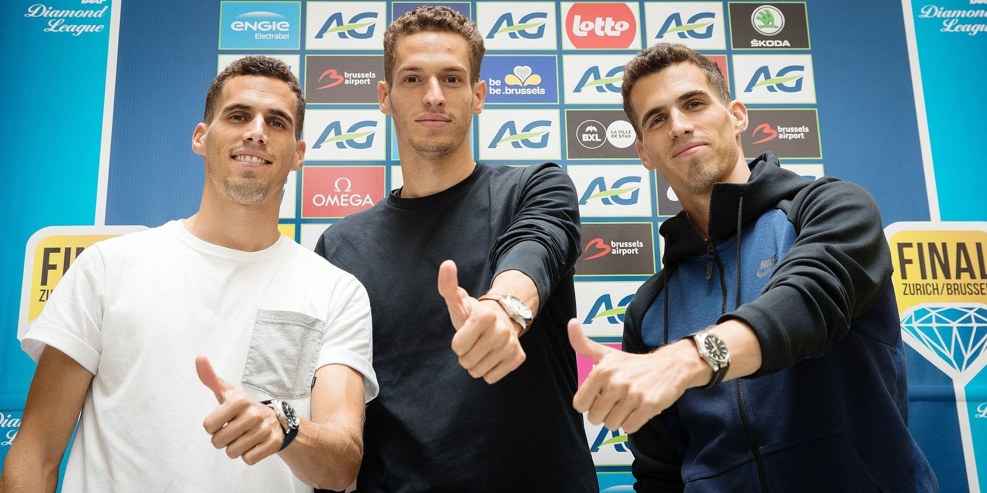 Belgian Kevin, Dylan and Jonathan Borlee pose for the photographer during a press conference regarding the 2018 edition of the Belgacom Memorial Van Damme athletics meeting, Tuesday 28 August 2018 in Brussels. BELGA PHOTO BENOIT DOPPAGNE