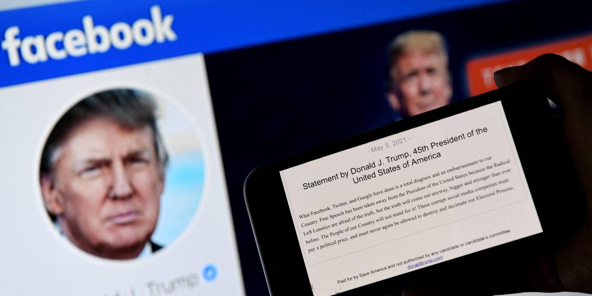 Les raisons de la suspension de Donald Trump sur Facebook