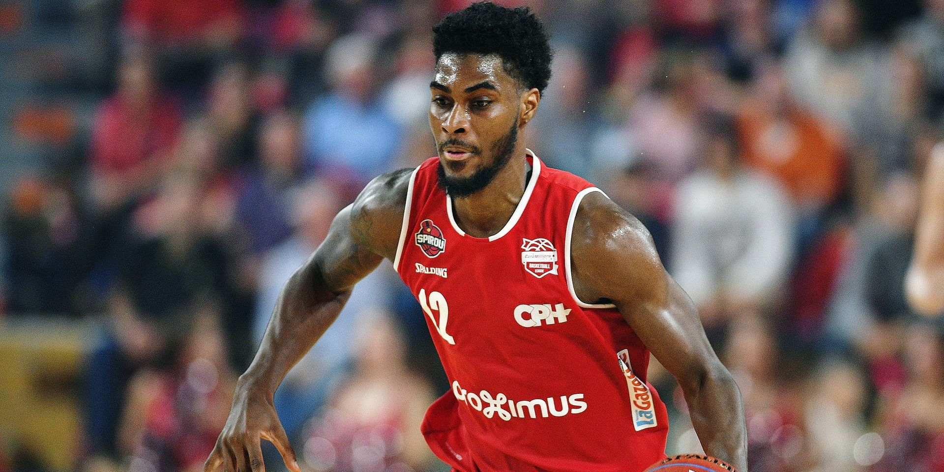 Charleroi's Quincy Ford pictured in action during the basketball match between Spirou Charleroi and BC Telenet Oostende, Friday 12 October 2018 in Charleroi, the third game of the 'EuroMillions League' Belgian first division. BELGA PHOTO DAVID STOCKMAN