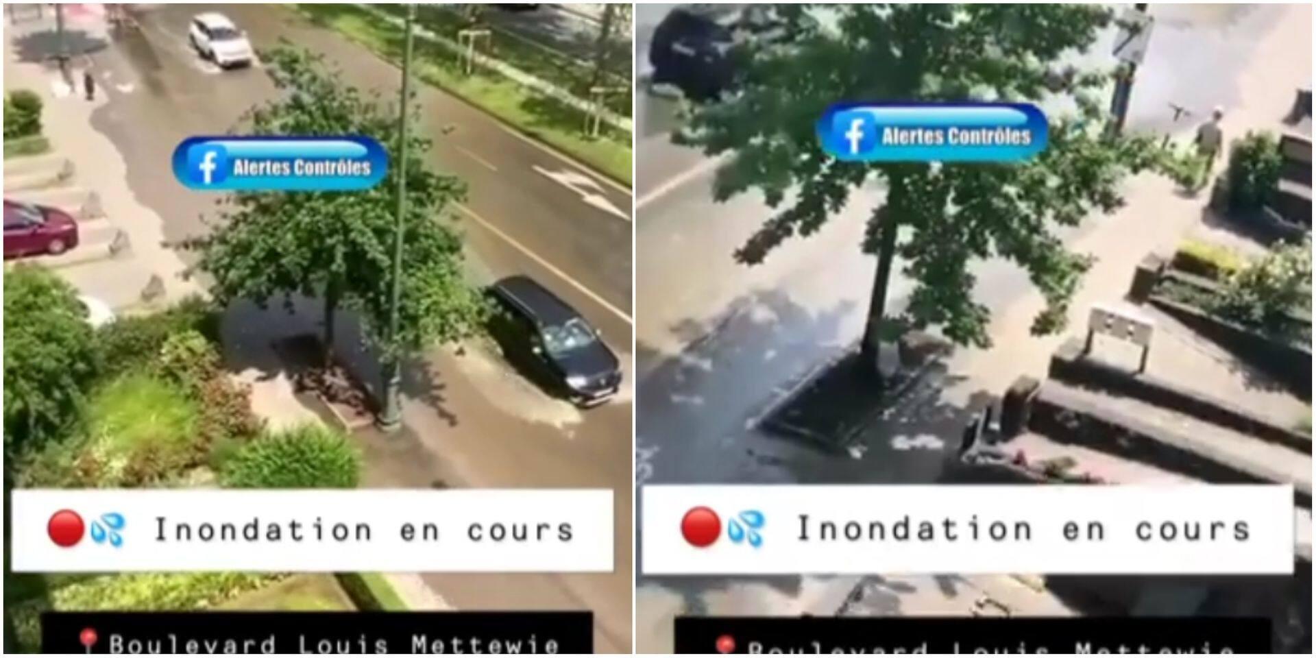 Grosse inondation en cours au boulevard Louis Mettewie malgré un soleil radieux: la circulation perturbée (VIDEO)