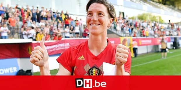 Belgium's Aline Zeler celebrates after winning a soccer game between Belgium's national team the Red Flames and Thailand, Saturday 01 June 2019, in Leuven, this friendly game is the last of Aline Zeler, recordwoman of selection in national team. BELGA PHOTO DAVID CATRY