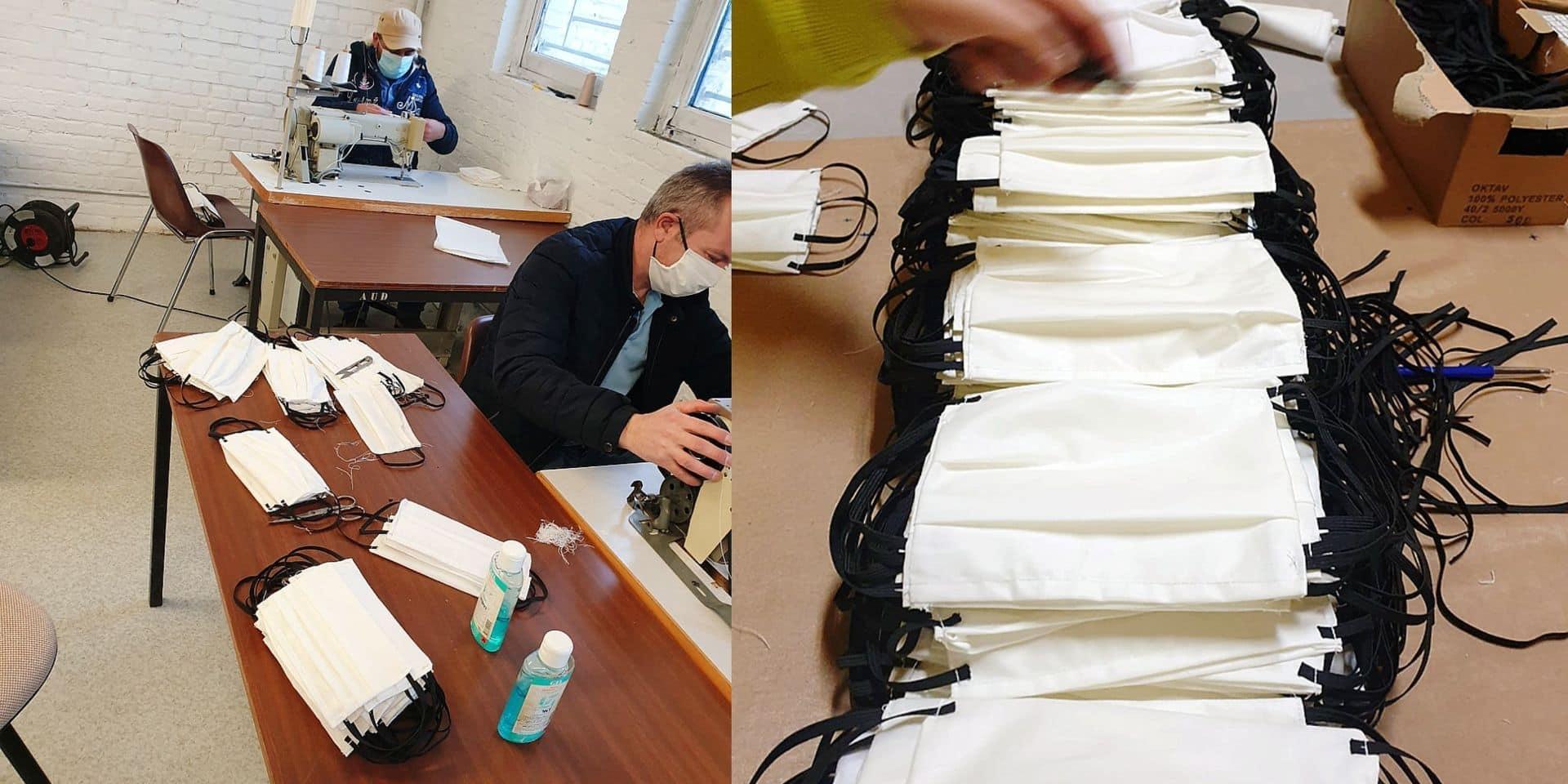 Des ouvriers du bâtiment recyclés en couturiers de masques de fortune !