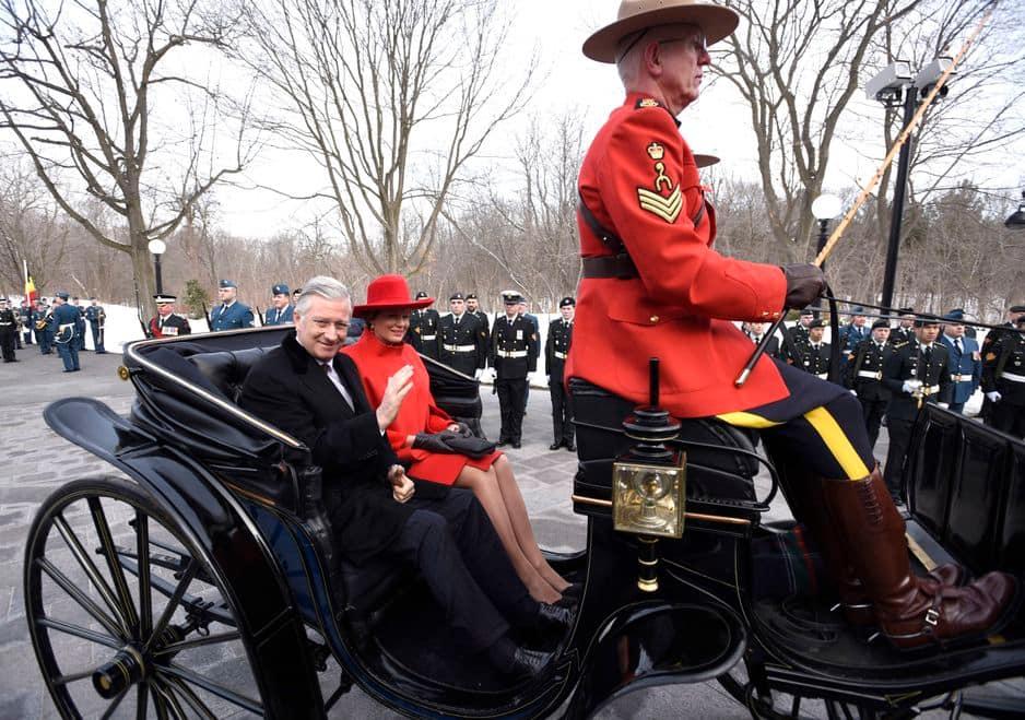 Retour en ville. C'était le 12 mars pour la cérémonie de bienvenue du couple royal au Canada.