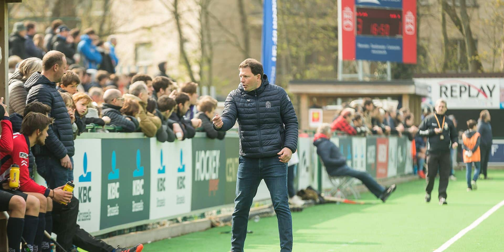 Leopold's head coach Robin Geens pictured during a hockey game between Royal Leopold Club and Oree, a quarterfinal play-offs game of the 'Audi league' Belgian hockey competition, Sunday 14 April 2019 in Uccle - Ukkel, Brussels. BELGA PHOTO JAMES ARTHUR GEKIERE