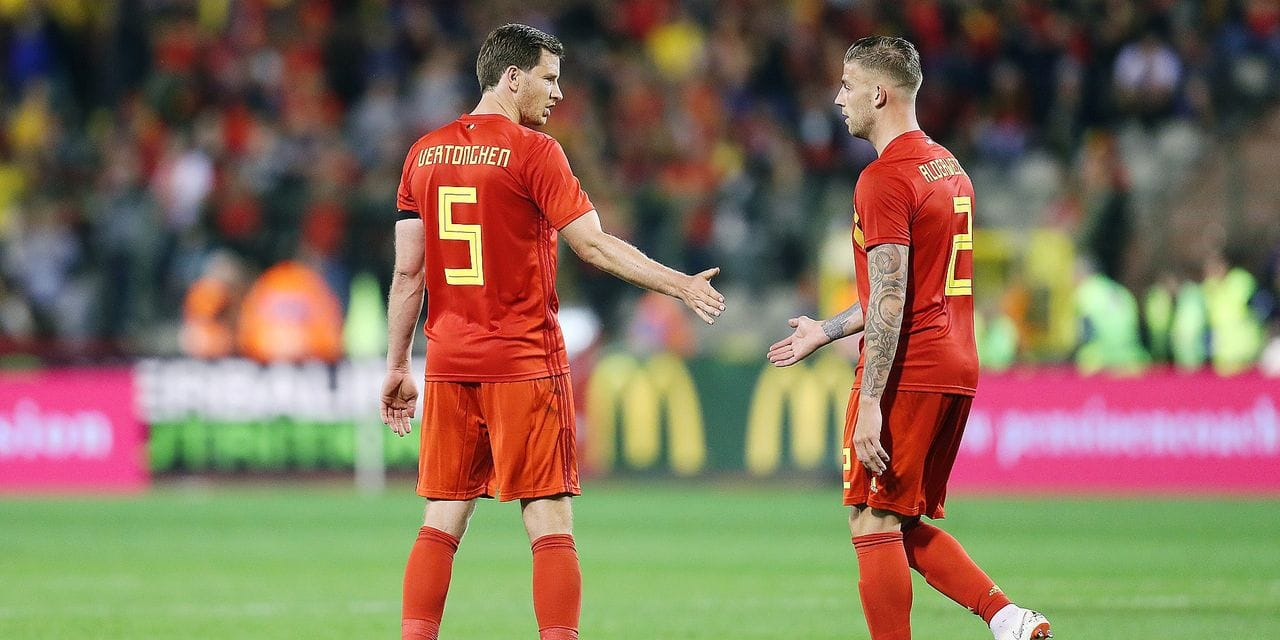 Belgium's Jan Vertonghen and Belgium's Toby Alderweireld pictured after a friendly soccer game between Belgian national team Red Devils and Portugal, Saturday 02 June 2018, in Brussels. The teams are preparing for the upcoming FIFA World Cup 2018 in Russia. BELGA PHOTO BRUNO FAHY