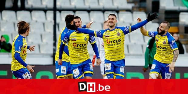 Waasland-Beveren's Aleksandar Boljevic celebrates after scoring during a soccer game between Cercle Brugge and Waasland-Beveren, Saturday 13 April 2019 in Brugge, on day 4 (out of 10) of the Play-off 2B of the 'Jupiler Pro League' Belgian soccer championship. BELGA PHOTO BRUNO FAHY