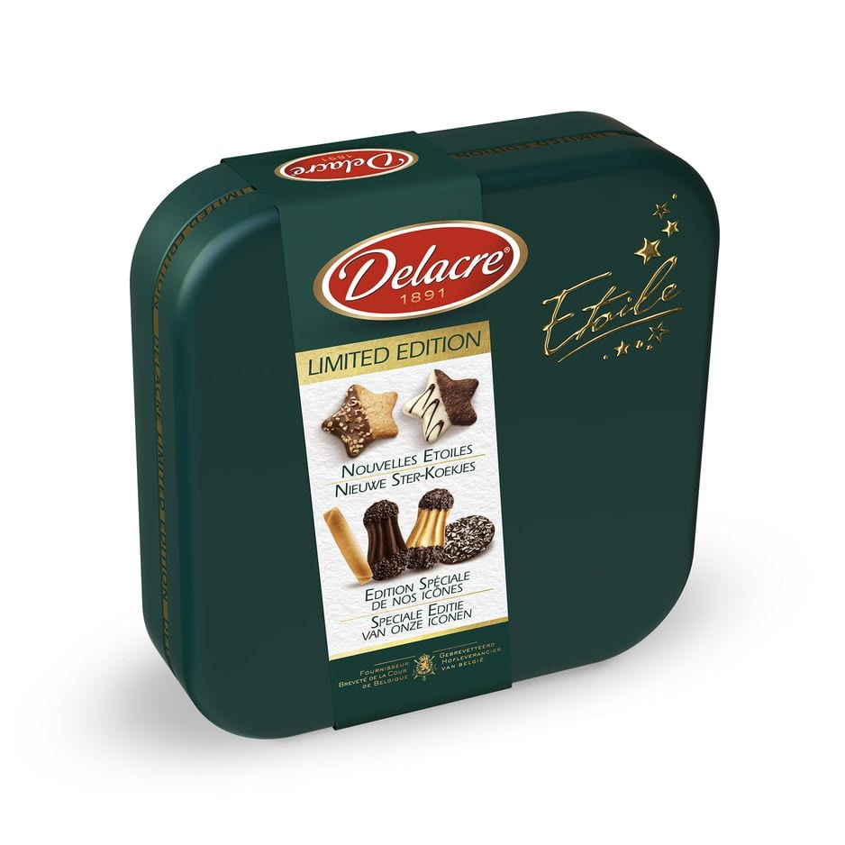 Les icônes Delacre en édition spéciale dans une belle boîte vert sombre pour changer du formzt Tea Time.                                   6 variétés de biscuits, 13.99€