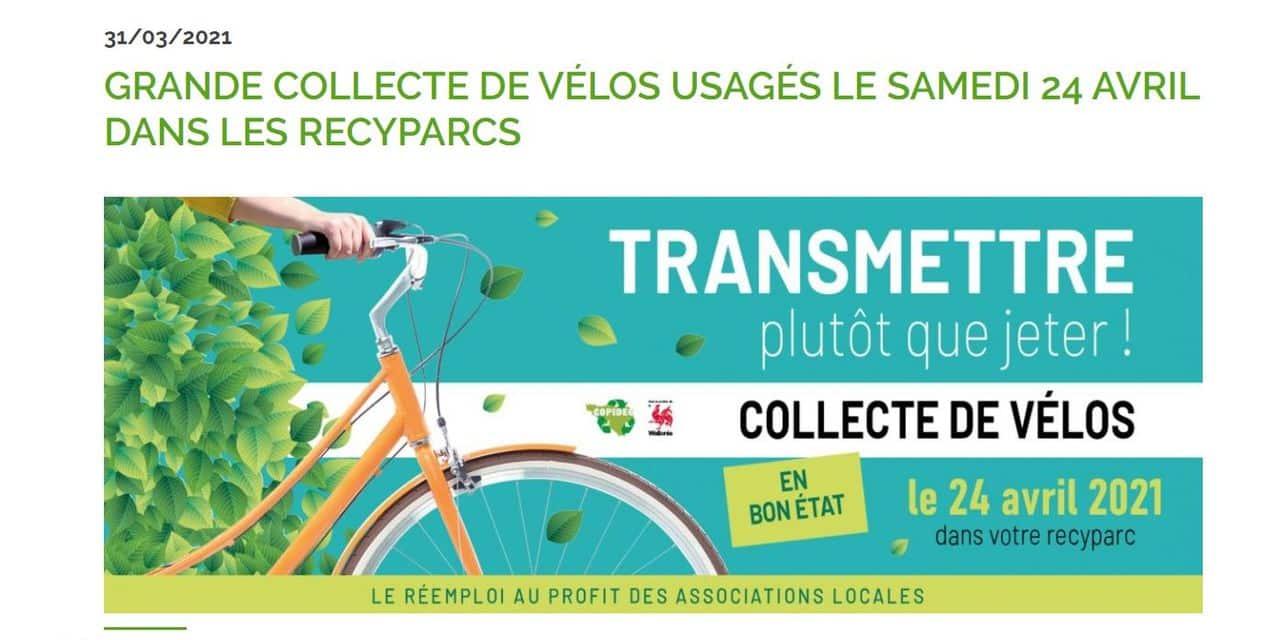 Collecte de vélos usagés le 24 avril dans les recyparcs