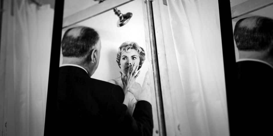 PSYCHO, from left: director Alfred Hitchcock, Janet Leigh, on set, 1960. (image used in '78/52'