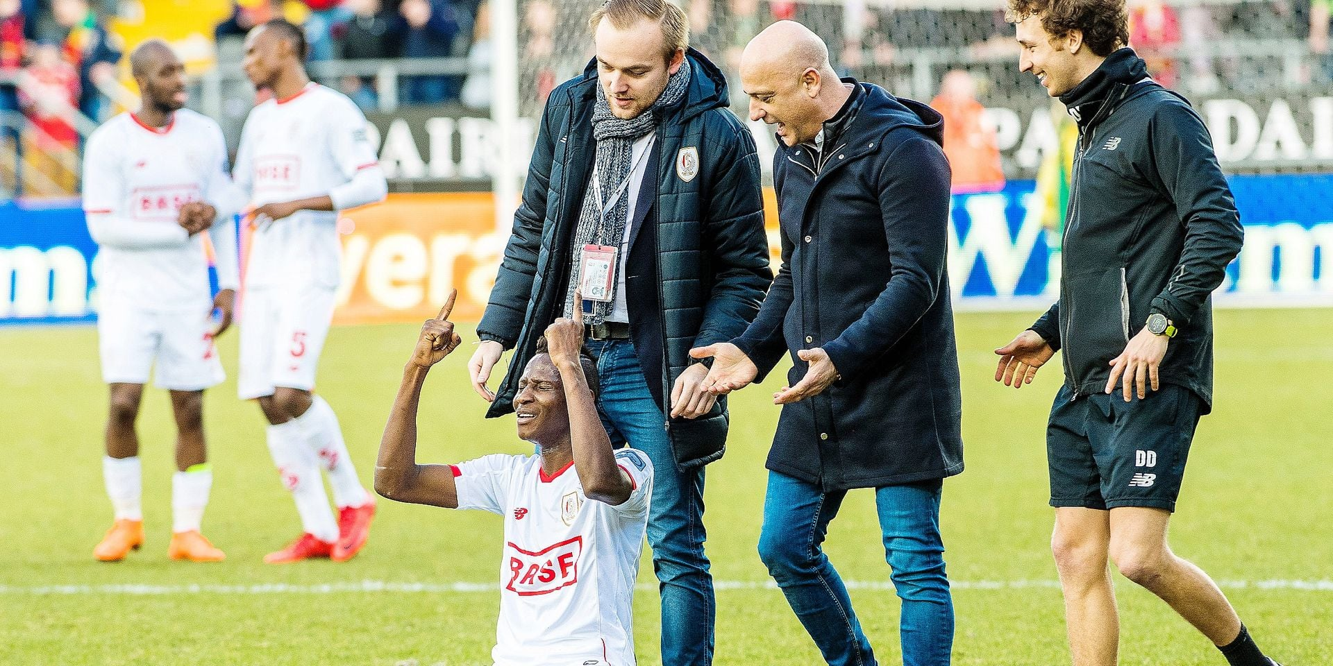 Standard's Moussa Djenepo celebrates after winning the Jupiler Pro League match between KV Oostende and Standard de Liege, in Oostende, Sunday 11 March 2018, on day 30 of the Jupiler Pro League, the Belgian soccer championship season 2017-2018. BELGA PHOTO LAURIE DIEFFEMBACQ